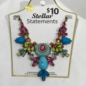 "STELLAR STATEMENT COSTUME JEWELRY 16"" WITH 4"" EXT."